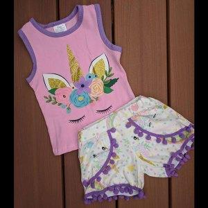 Pink Sleeping Unicorn Tank & Shorts Set