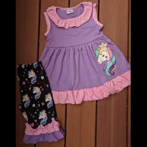 Purple & Black Unicorn Capri Set