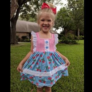 Strawberry & Lace Dress & Short Set