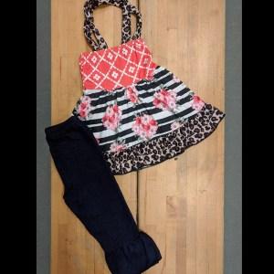 Coral Floral & Leopard Denim Pants Set