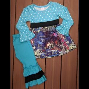 Blue & Black Jurassic Park Dress & Pants Set