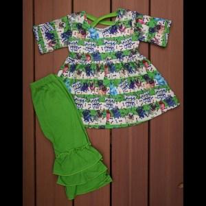 Green Puppy Dog Pals Dress & Pants Set