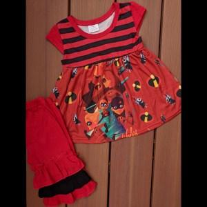 Red & Black Incredibles Capri Set