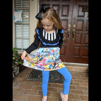 Black Disney Tunic & Blue Legging Set