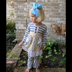 Long Sleeve Blue & Ivory Floral Tunic & Ruffle Pant Set
