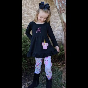 Long Sleeve Black Minnie Unicorn Tunic & Legging Set