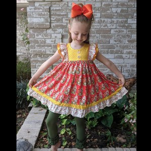 Orange & Yellow & Olive Floral Twirl Paired With Olive Icing Leggings