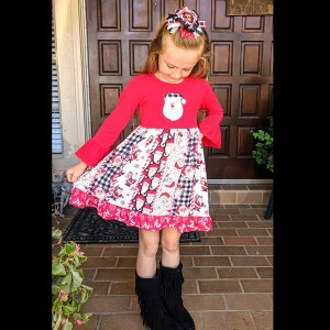 Red Santa Twirl Dress With Matching Bow