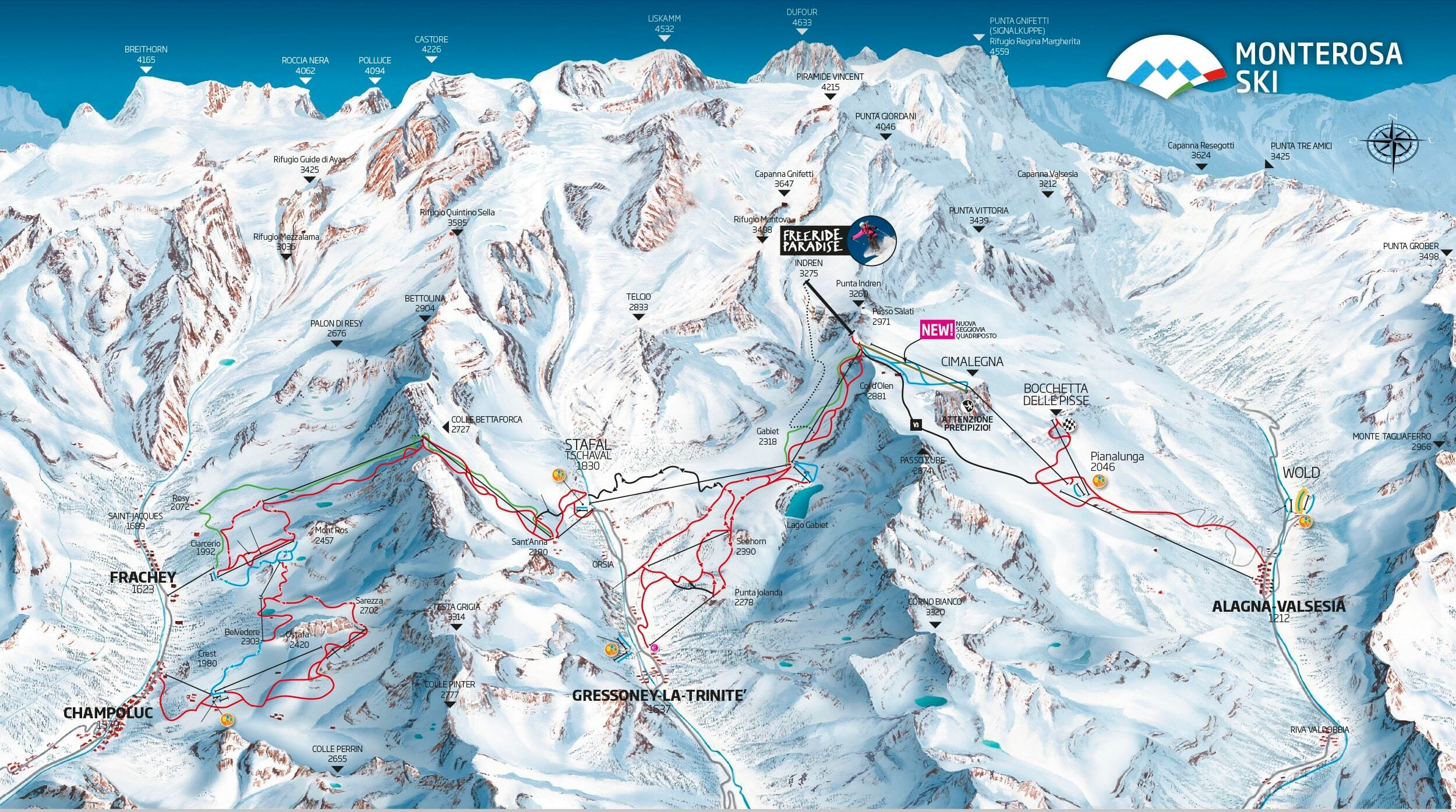 Alagna Ski Resort Guide Location Map  Alagna ski holiday