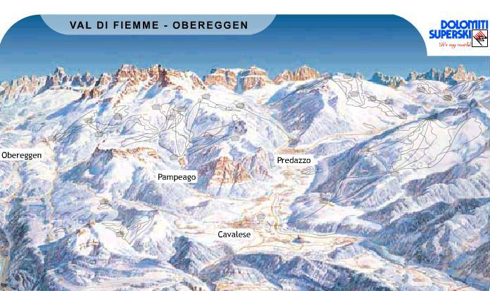 Val di FiemmeObereggen Ski Resort Guide Location Map