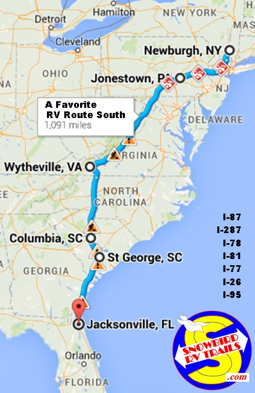 The I-81 to I-26/I-77 to I-95 RV route to Florida from New Enjgland and Canada
