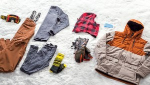 Collected cold and dry snowboarding gear