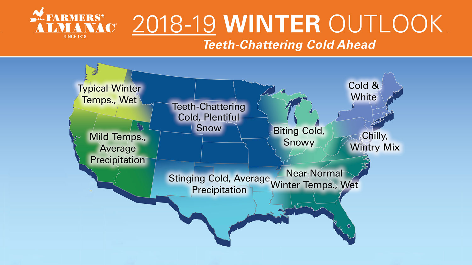 Farmer's Almanac 2018 2019 Winter Weather Forecast
