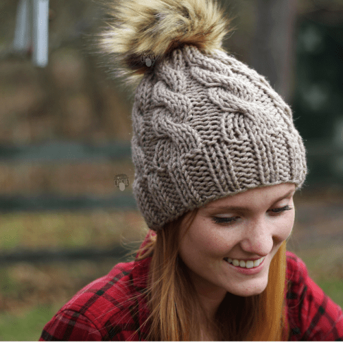 Snowflake Crochet Cable Hat with faux fur pom pom