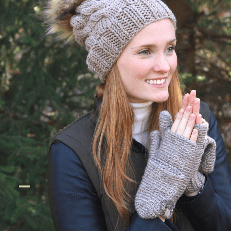 Fingerless Mittens with Flap
