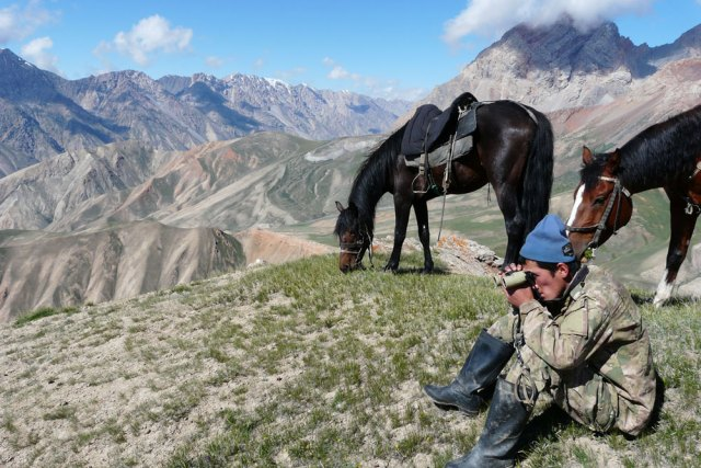 A wildlife ranger in Kyrgyzstan's Sarychat Ertash State Nature Reserve on patrol.