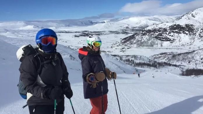 Heerlijke zonnig, maar een sterke wind in Hemsedal Noorwegen