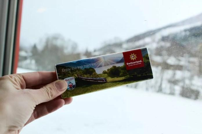 Combineer het beste van Zwitserland: treinen, sneeuw en chocola! Foto: Pauline van der Waal