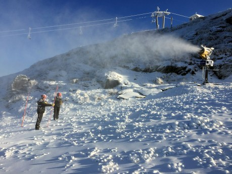 Measuring snow following a natural snowfall and snowmaking at Coronet Peak, Queenstown