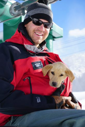 Lucy the Alta Ski Area avalanche puppy in training. Photo credit: Rachael Oakes-Ash @misssnowitall