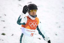 Lydia Lassila of Australia gestures after crashing in the Women's Freestyle Aerials qualifier, at Phoenix Snow Park, during the PyeongChang 2018 Winter Olympic Games, in PyeongChang, South Korea, Thursday, February 15, 2018. (AAP Image/Dan Himbrechts)