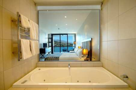 The bath tub was the size of my bedroom at home