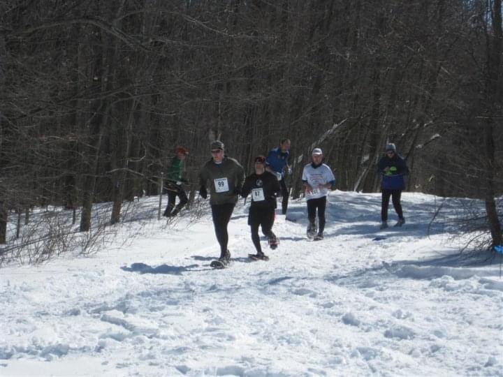 snowshoeing near Ithaca NY: racers at 2010 U.S. Nationals at Highland County Park