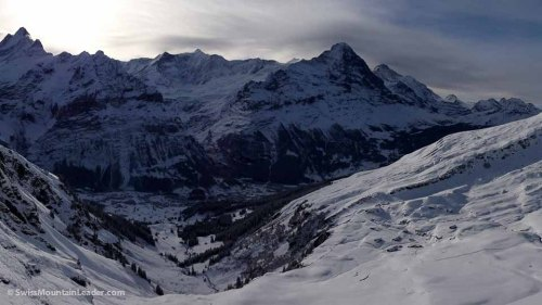 Up on Grindelwald First, the Jungfrau Massif over the valley