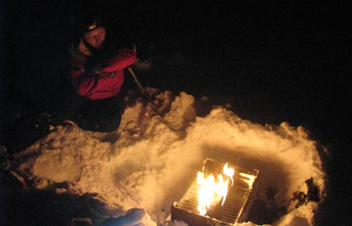 fire while snowshoeing at night