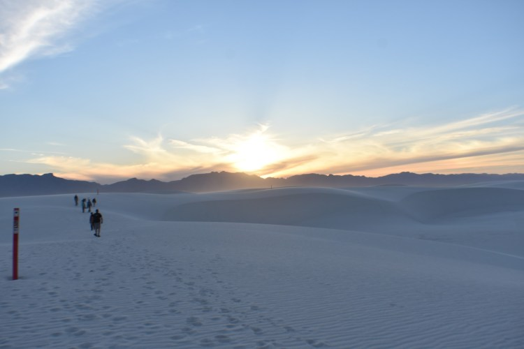 sand trail with hikers at sunset in WSNP