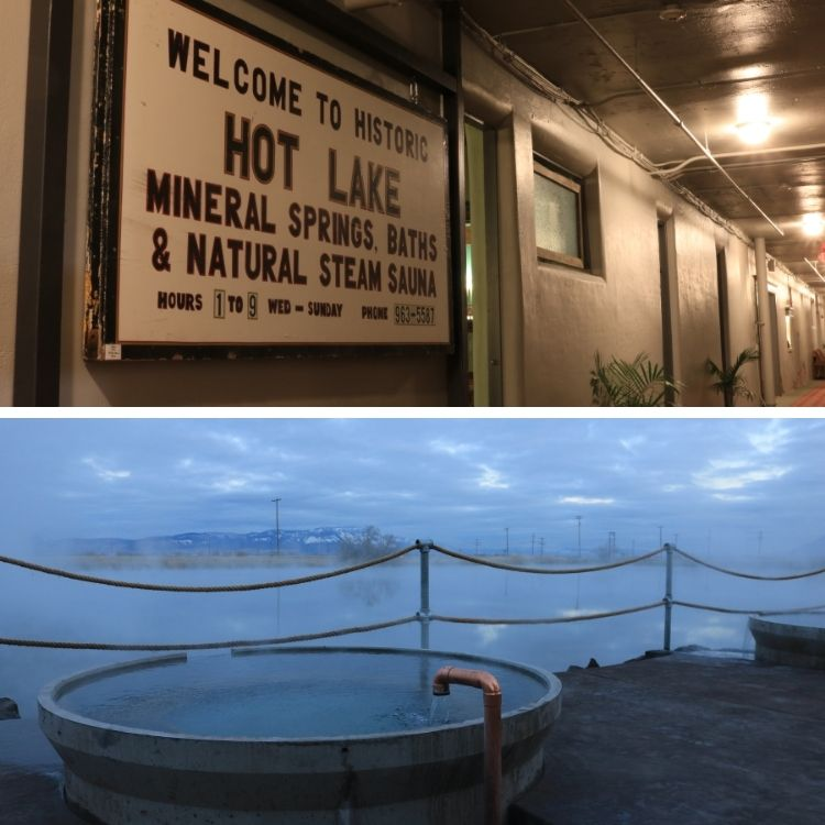 top and bottom photos: Hot Lakes bath historic sign and bath overlooking Hot Lake and Mt Emily