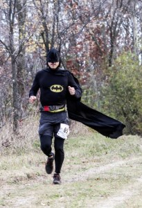 Batman (aka Christopher Lofgren) battling the course looking for the bad guys