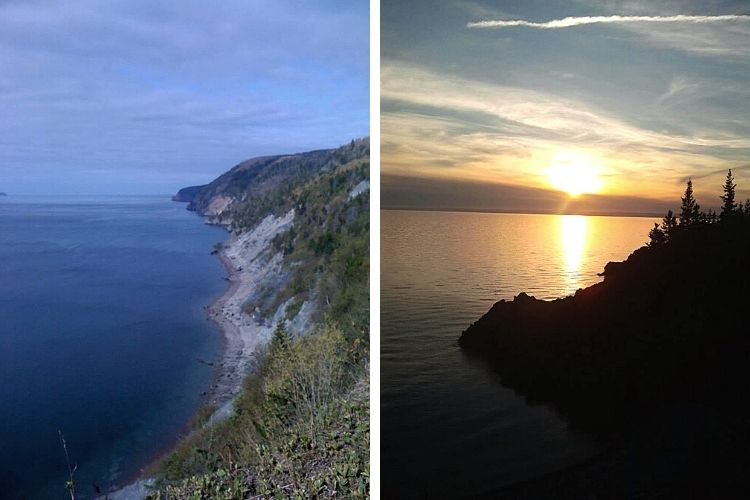 side by side L: sea cliffs R: sunset over water