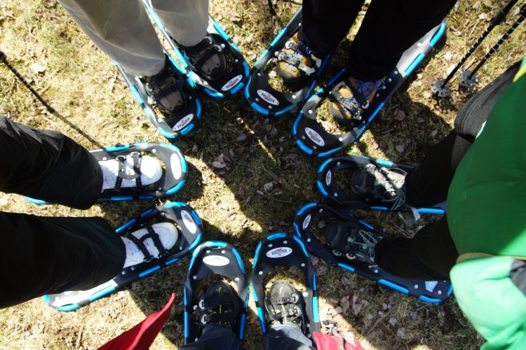 snowshoes in a circle on the ground
