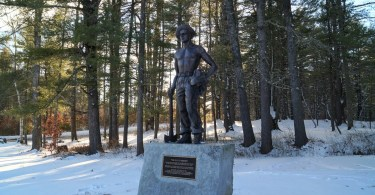 Bear Brook CCC Statue in winter