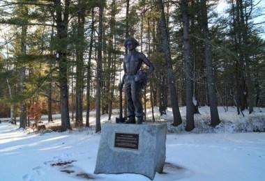 Bear Brook CCC Statue in winter