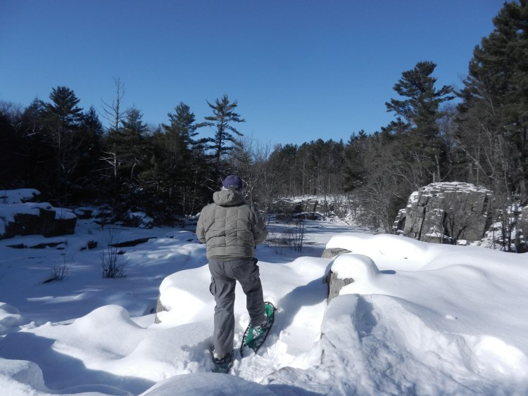man stopped to admire the view of the Ice Age Trail on snowshoes