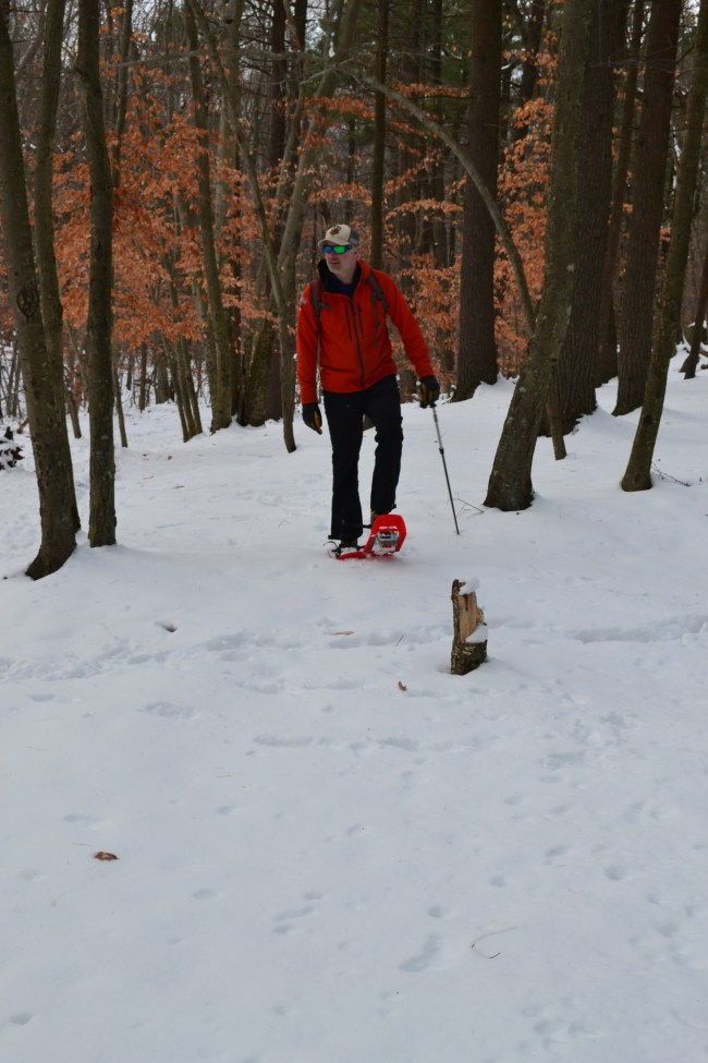 snowshoeing near Boston: man snowshoeing in Blue Hills