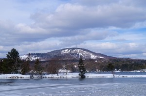Blue Hill Mountain rises from Blue Hill Harbor on Maine's Down East coast.