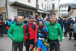 Daniele Fornoni and Fabio Bonfanti with Race Organizers Giacomo Rorato and Christian Zandonella (Photo by CadorEventi)