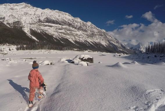 Snowshoeing across Medicine Lake, Jasper