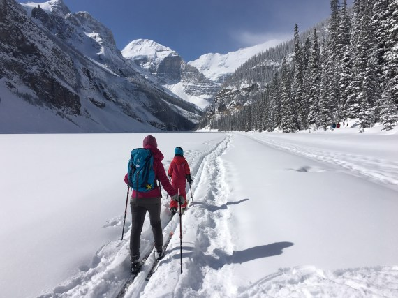 XC Skiing across Lake Louise, AB