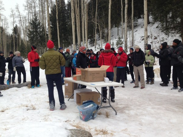 Participants and spectators gather for the awards presentation at the 2015 Santa Fe Snowshoe Classic.