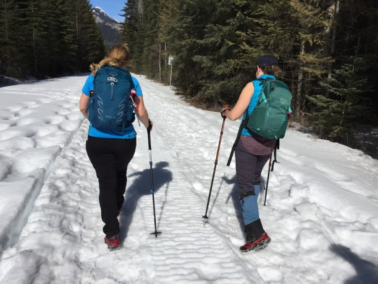 two winter hikers with crampons hiking to Wapta Falls, Canadian Rockies