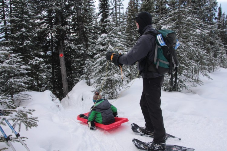 man holding child on sled while snowshoeing