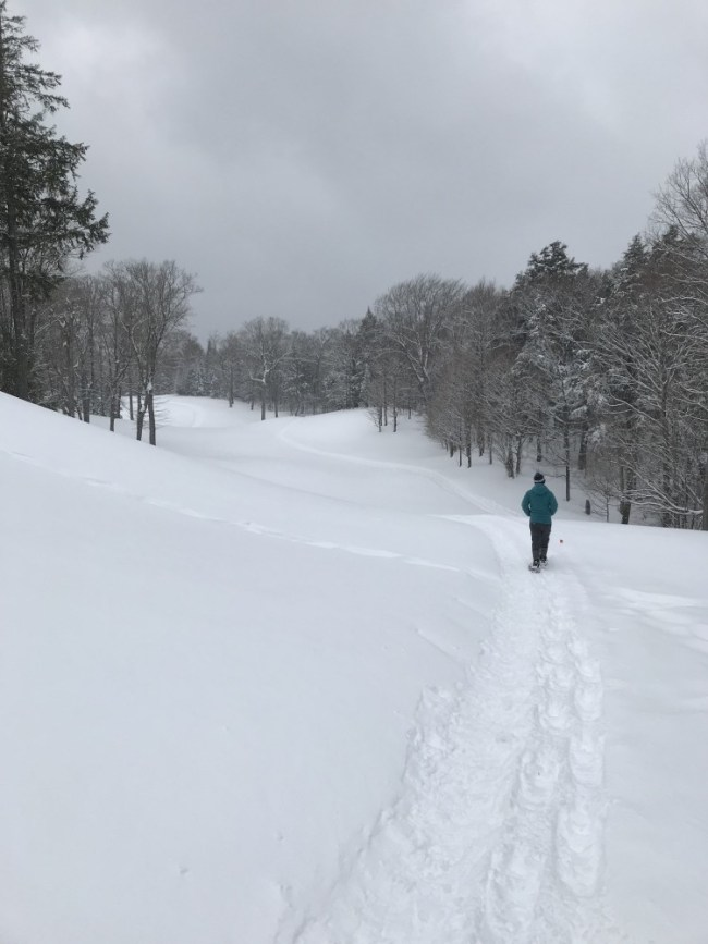 snowshoeing on golf course at Lakewood Resort WI