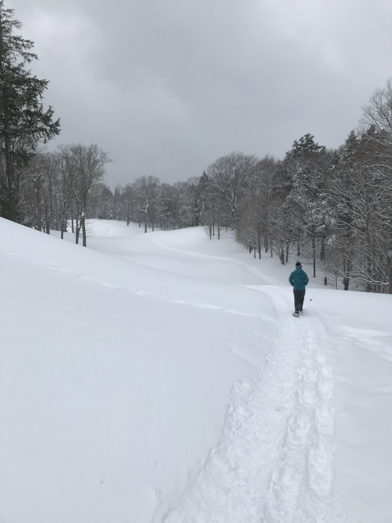 snowshoeing on golf course at Lakewood Resort