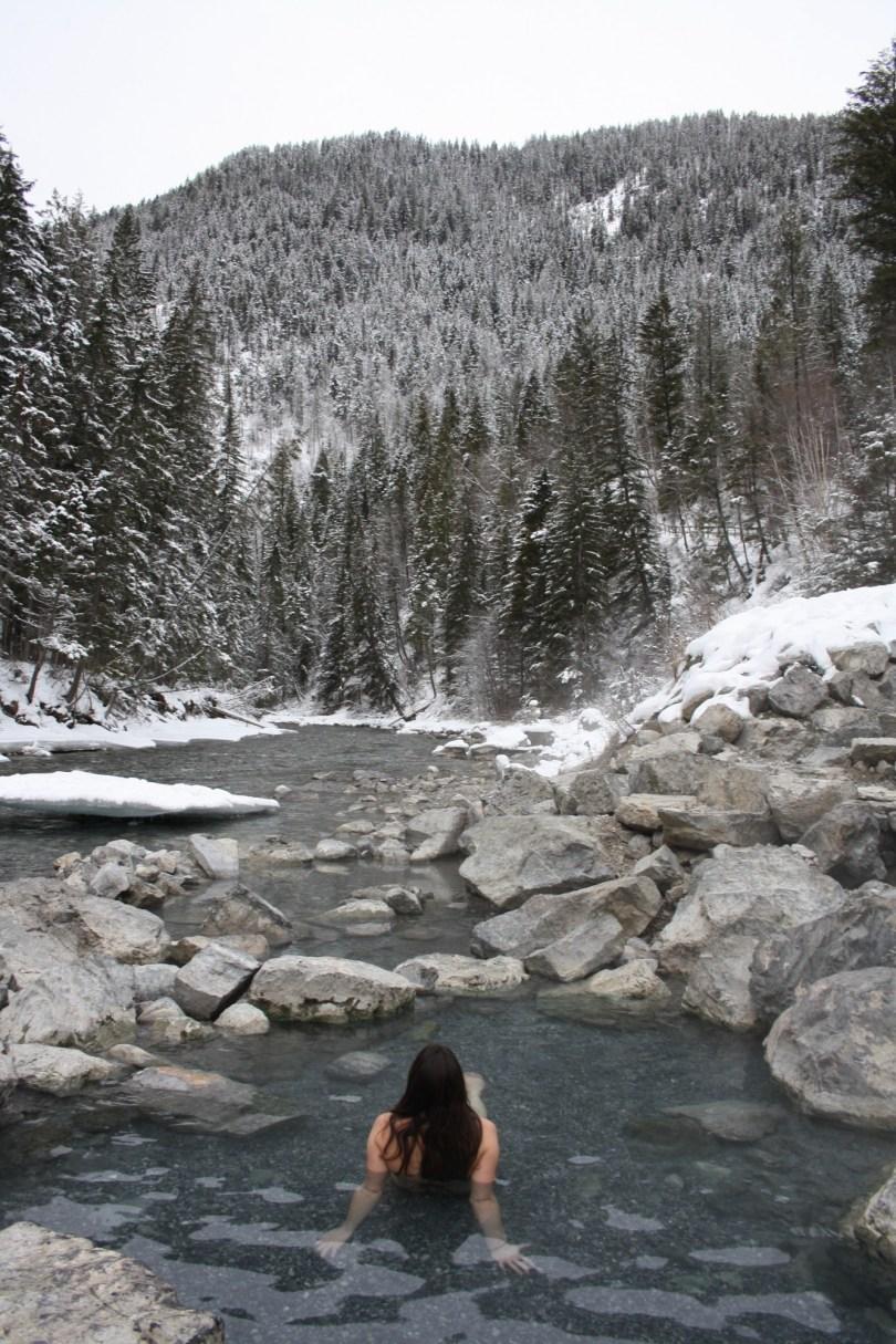 relaxing in Lussier Hot Springs, BC