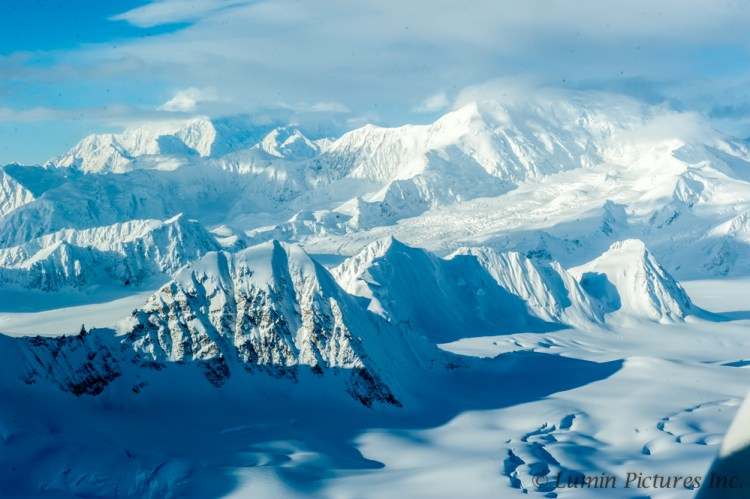 aerial view of glaciers in winter in the Yukon
