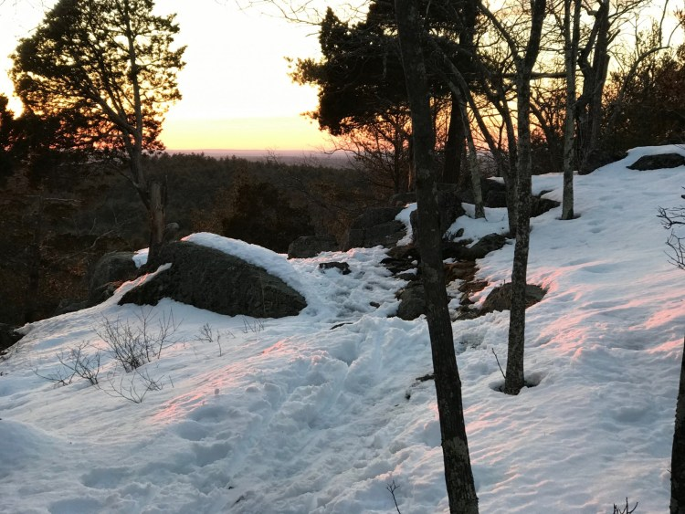snowshoeing near Boston: sunset on Moose Hill